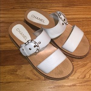 Chanel CC Buckle Accented Slides